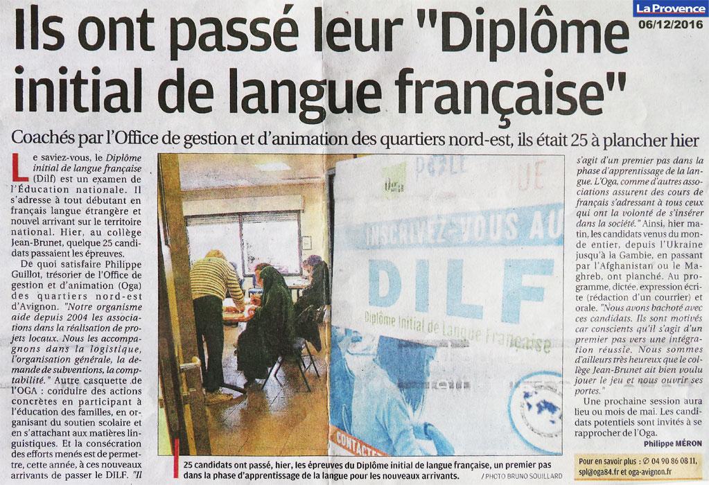 article La Provence DILF Avignon 06/12/2016