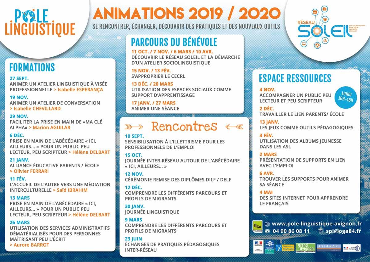 Pôle Linguistique Avignon Planning des Animations 2019 / 2020