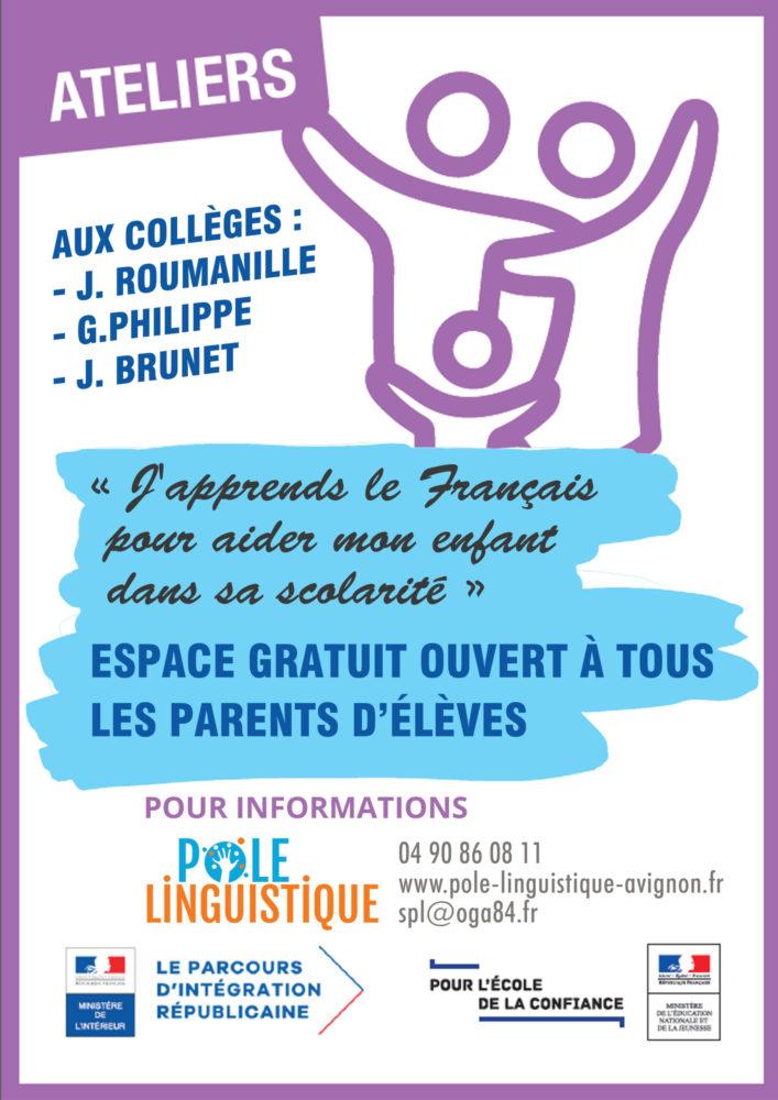 Pôle linguistique Ecole ouverte aux parents dispositif linguistique pour les parents primo arrivants porté par l'Education nationale