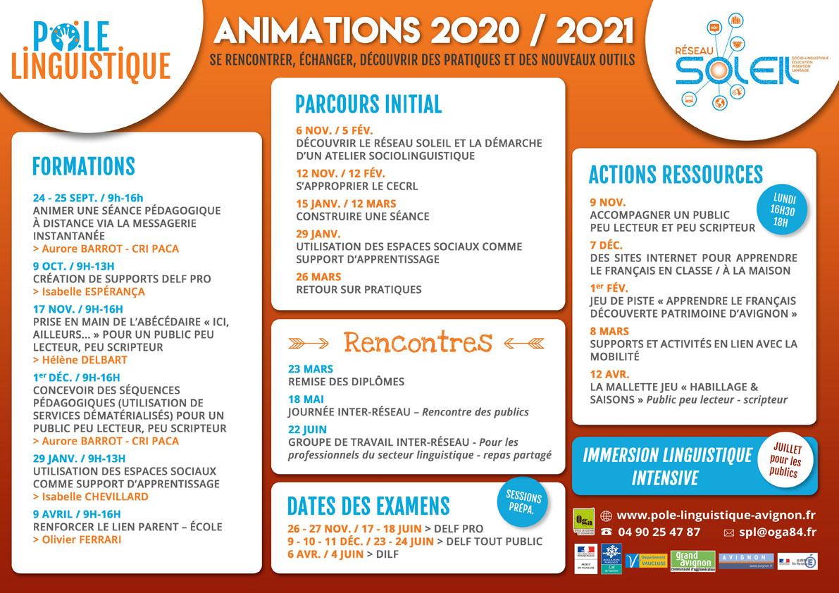 Pôle linguistique planning des animations pédagogiques 2020 2021