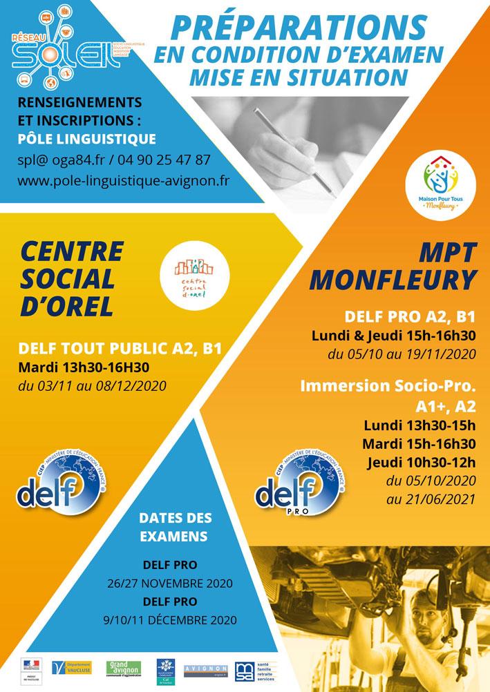 Pole linguistique Avignon préparations DELF Tout public, DELF Pro 2020